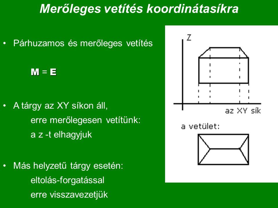 Merőleges vetítés koordinátasíkra MEPárhuzamos és merőleges vetítés M = E A tárgy az XY síkon áll, erre merőlegesen vetítünk: a z -t elhagyjuk Más hel