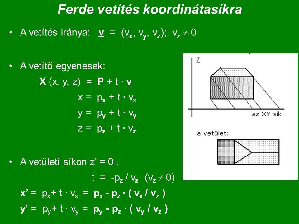Ferde vetítés koordinátasíkra A vetítés iránya: v = (v x, v y, v z ); v z  0 A vetítő egyenesek: X (x, y, z) = P + t · v x = p x + t · v x y = p y +