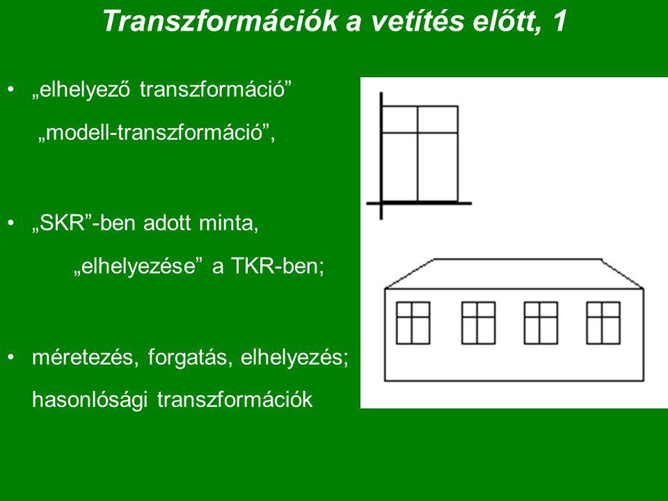 """Transzformációk a vetítés előtt, 1 """"elhelyező transzformáció"""" """"modell-transzformáció"""", """"SKR""""-ben adott minta, """"elhelyezése"""" a TKR-ben; méretezés, forg"""