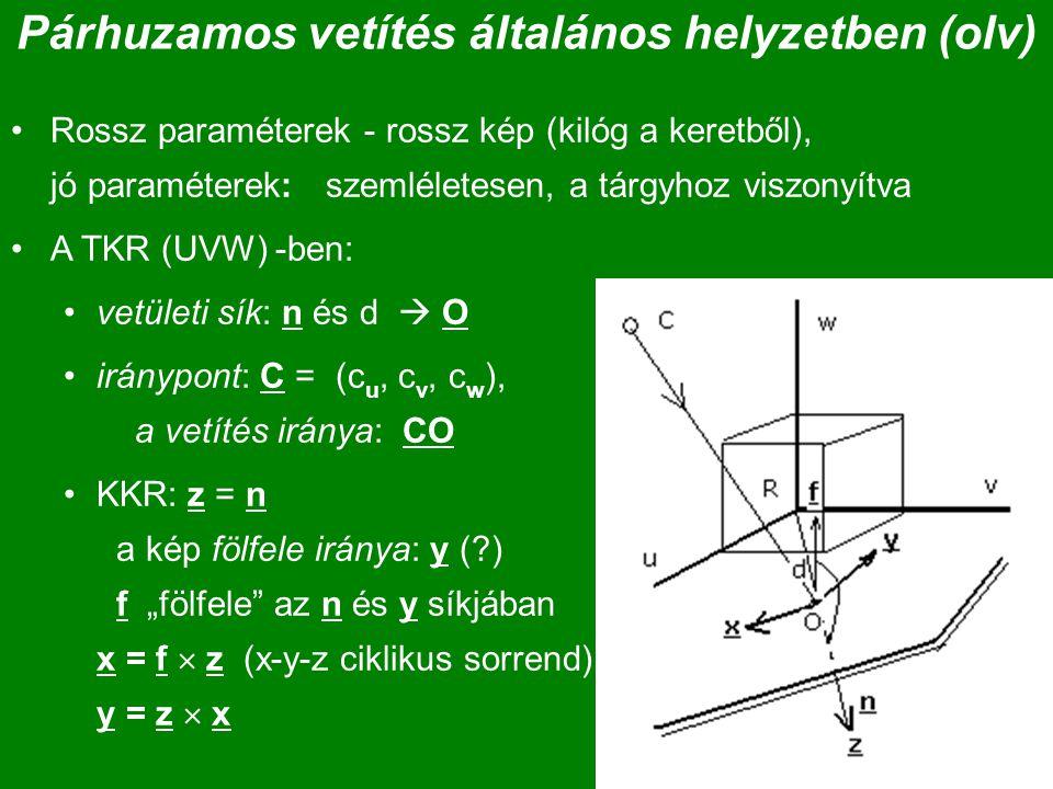 Párhuzamos vetítés általános helyzetben (olv) Rossz paraméterek - rossz kép (kilóg a keretből), jó paraméterek: szemléletesen, a tárgyhoz viszonyítva