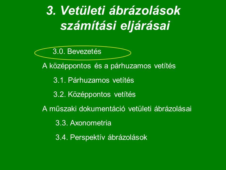 3. Vetületi ábrázolások számítási eljárásai 3.0. Bevezetés A középpontos és a párhuzamos vetítés 3.1. Párhuzamos vetítés 3.2. Középpontos vetítés A mű