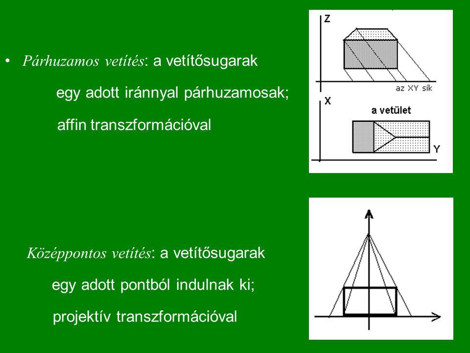 Párhuzamos vetítés : a vetítősugarak egy adott iránnyal párhuzamosak; affin transzformációval Középpontos vetítés : a vetítősugarak egy adott pontból