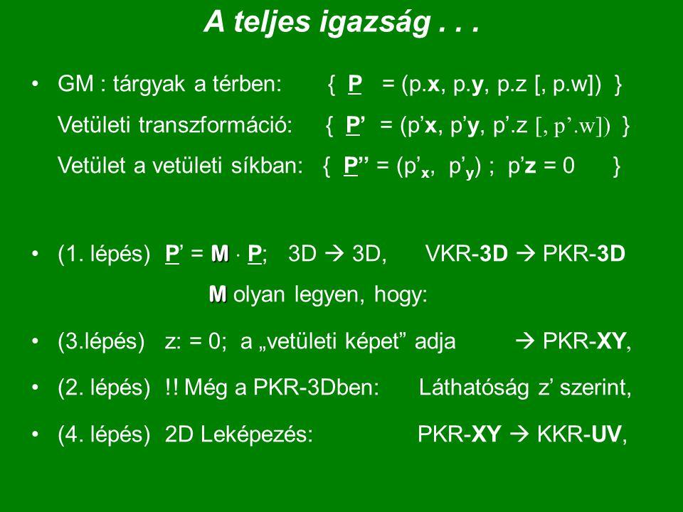 A teljes igazság... GM : tárgyak a térben: { P = (p.x, p.y, p.z [, p.w]) } Vetületi transzformáció: { P' = (p'x, p'y, p'.z [, p'.w]) } Vetület a vetül