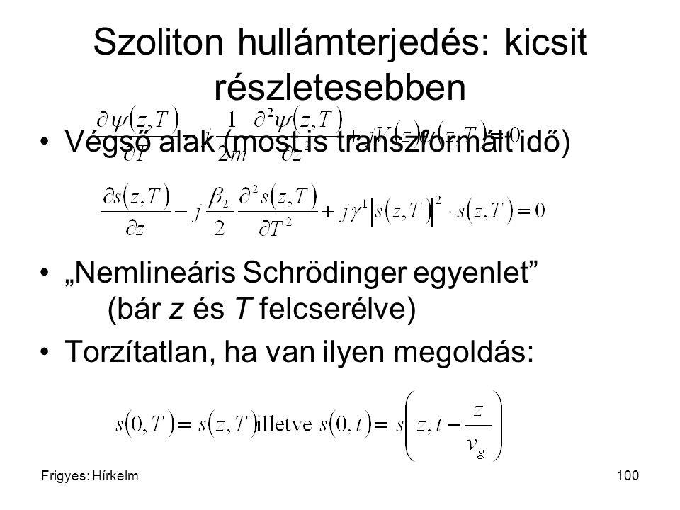 """Frigyes: Hírkelm100 Szoliton hullámterjedés: kicsit részletesebben Végső alak (most is transzformált idő) """"Nemlineáris Schrödinger egyenlet"""" (bár z és"""