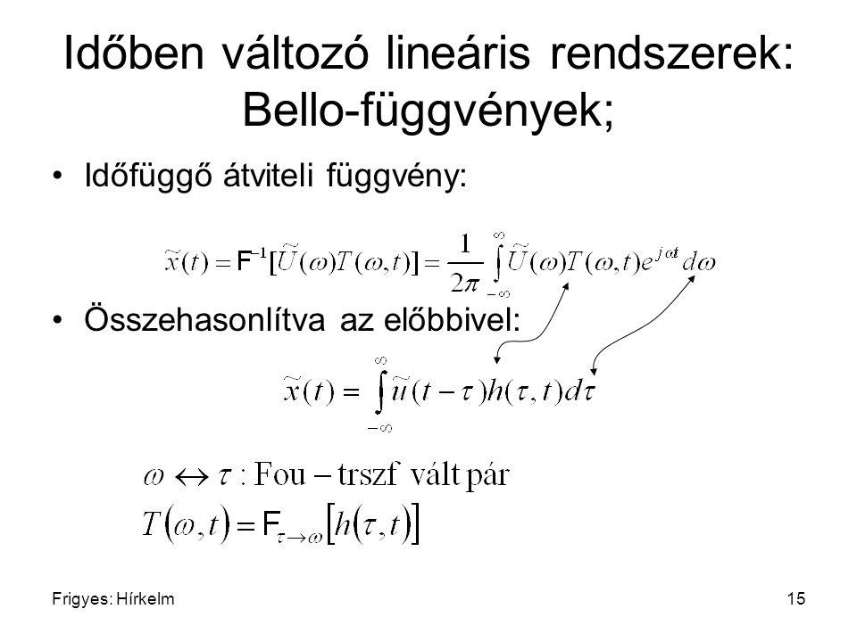 Frigyes: Hírkelm15 Időben változó lineáris rendszerek: Bello-függvények; Időfüggő átviteli függvény: Összehasonlítva az előbbivel: