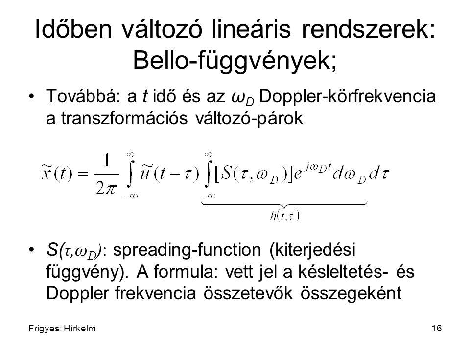 Frigyes: Hírkelm16 Időben változó lineáris rendszerek: Bello-függvények; Továbbá: a t idő és az ω D Doppler-körfrekvencia a transzformációs változó-pá