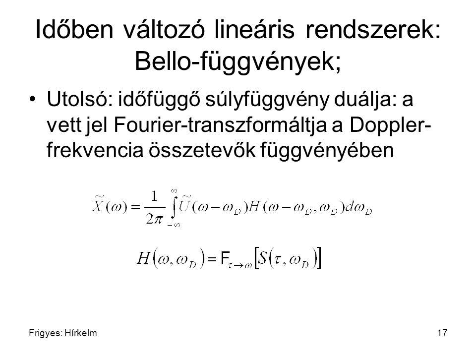 Frigyes: Hírkelm17 Időben változó lineáris rendszerek: Bello-függvények; Utolsó: időfüggő súlyfüggvény duálja: a vett jel Fourier-transzformáltja a Do