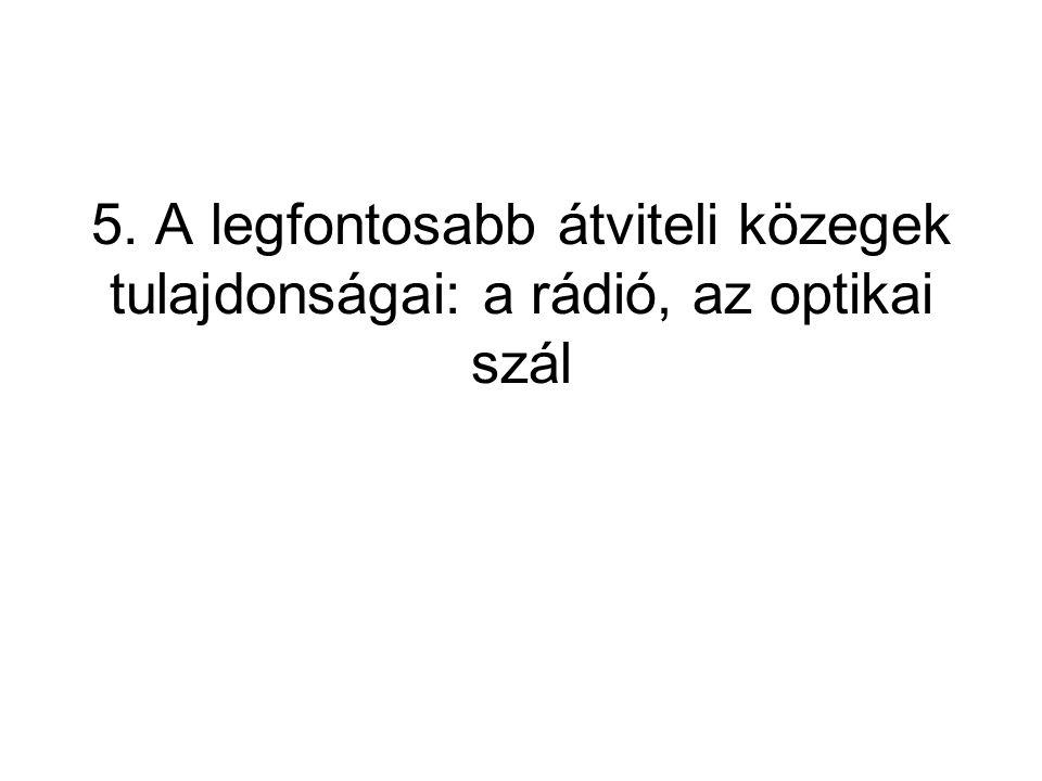 5. A legfontosabb átviteli közegek tulajdonságai: a rádió, az optikai szál