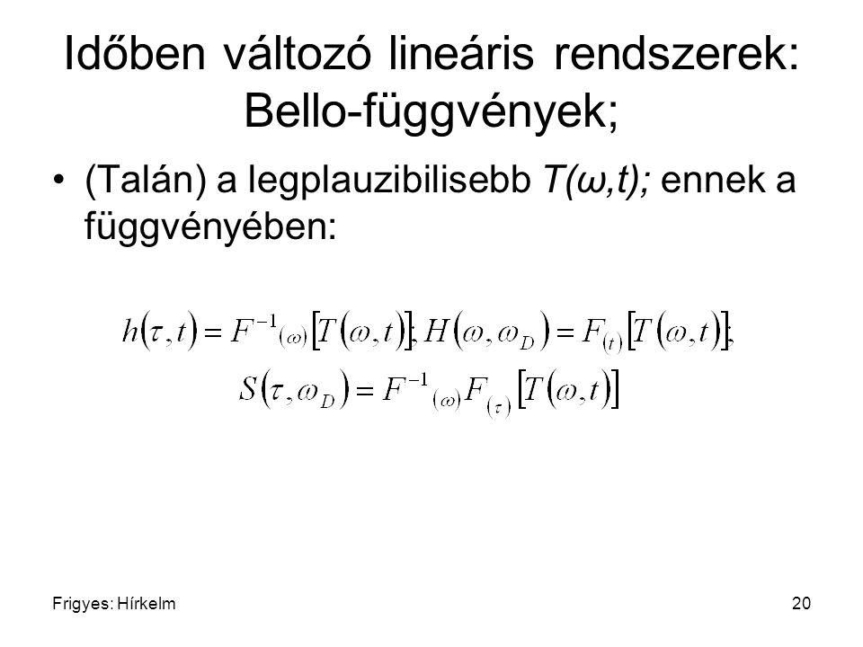 Frigyes: Hírkelm20 Időben változó lineáris rendszerek: Bello-függvények; (Talán) a legplauzibilisebb T(ω,t); ennek a függvényében: