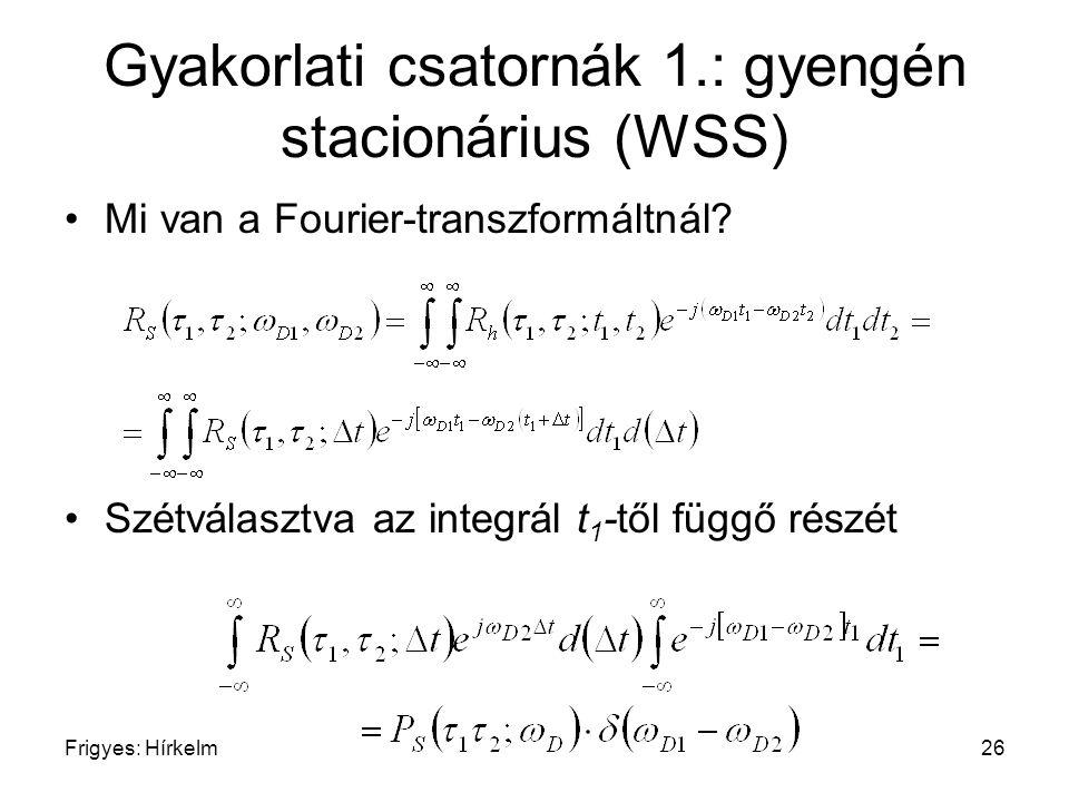 Frigyes: Hírkelm26 Gyakorlati csatornák 1.: gyengén stacionárius (WSS) Mi van a Fourier-transzformáltnál? Szétválasztva az integrál t 1 -től függő rés