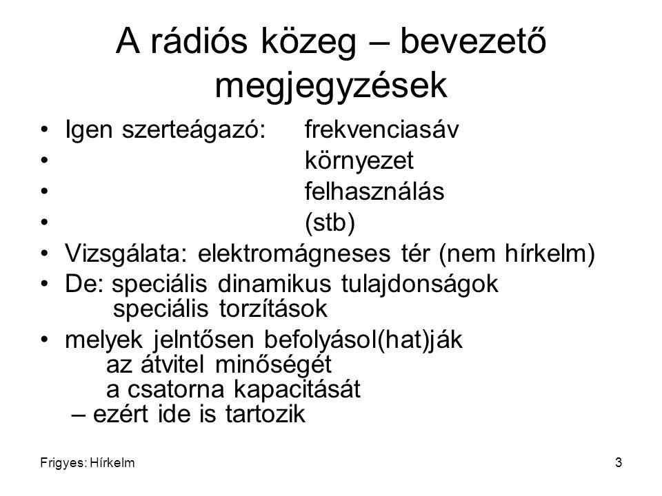 Frigyes: Hírkelm3 A rádiós közeg – bevezető megjegyzések Igen szerteágazó: frekvenciasáv környezet felhasználás (stb) Vizsgálata: elektromágneses tér