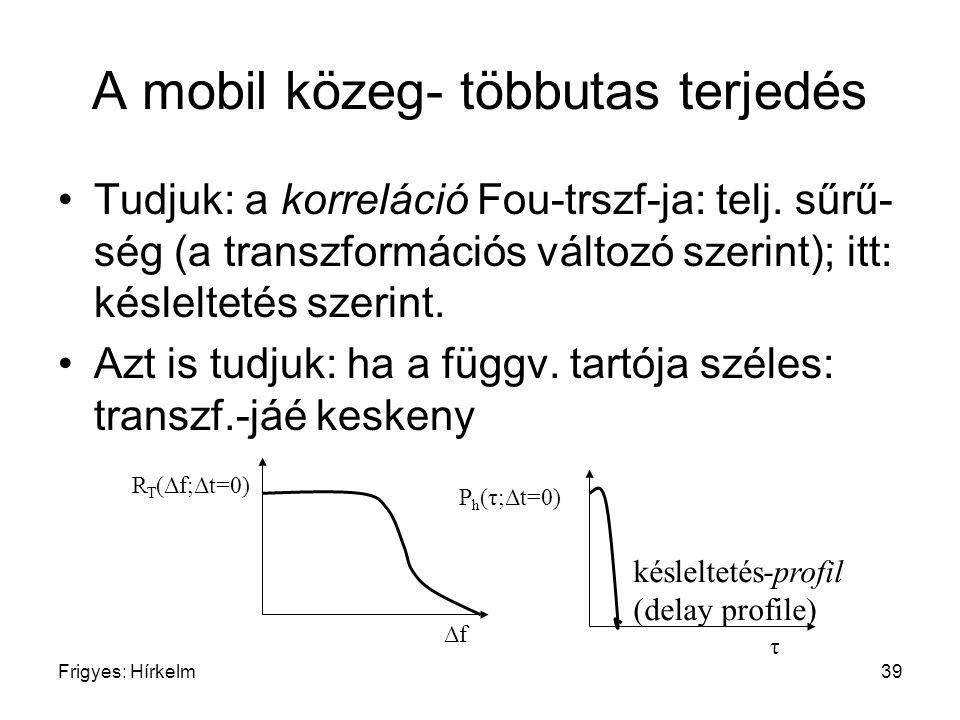 Frigyes: Hírkelm39 A mobil közeg- többutas terjedés Tudjuk: a korreláció Fou-trszf-ja: telj. sűrű- ség (a transzformációs változó szerint); itt: késle