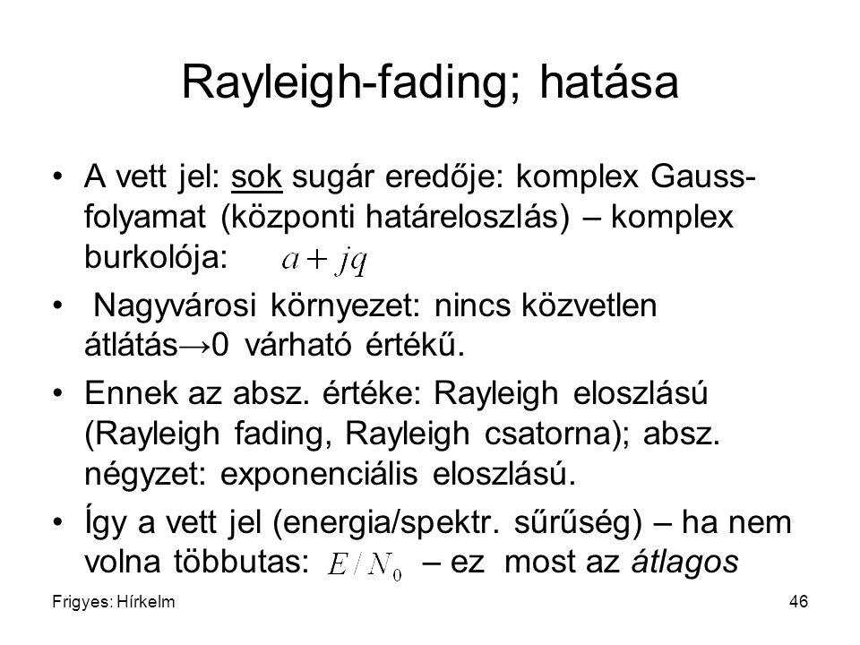 Frigyes: Hírkelm46 Rayleigh-fading; hatása A vett jel: sok sugár eredője: komplex Gauss- folyamat (központi határeloszlás) – komplex burkolója: Nagyvá