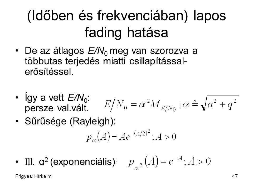 Frigyes: Hírkelm47 (Időben és frekvenciában) lapos fading hatása De az átlagos E/N 0 meg van szorozva a többutas terjedés miatti csillapítással- erősí