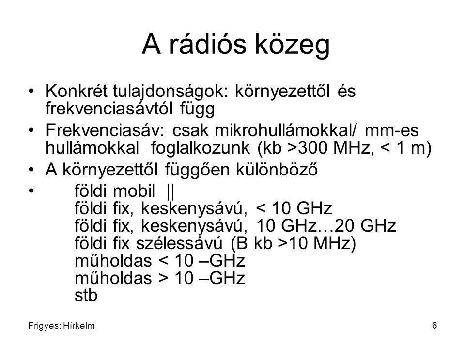 Frigyes: Hírkelm6 A rádiós közeg Konkrét tulajdonságok: környezettől és frekvenciasávtól függ Frekvenciasáv: csak mikrohullámokkal/ mm-es hullámokkal