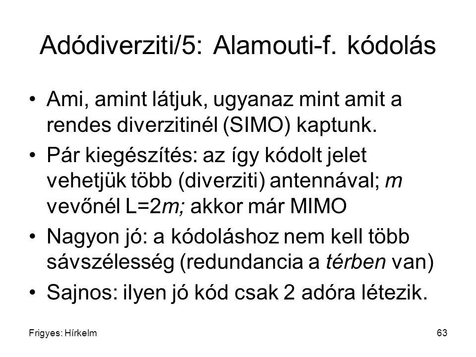 Frigyes: Hírkelm63 Adódiverziti/5: Alamouti-f. kódolás Ami, amint látjuk, ugyanaz mint amit a rendes diverzitinél (SIMO) kaptunk. Pár kiegészítés: az