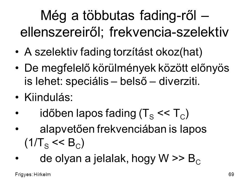 Frigyes: Hírkelm69 Még a többutas fading-ről – ellenszereiről; frekvencia-szelektiv A szelektiv fading torzítást okoz(hat) De megfelelő körülmények kö