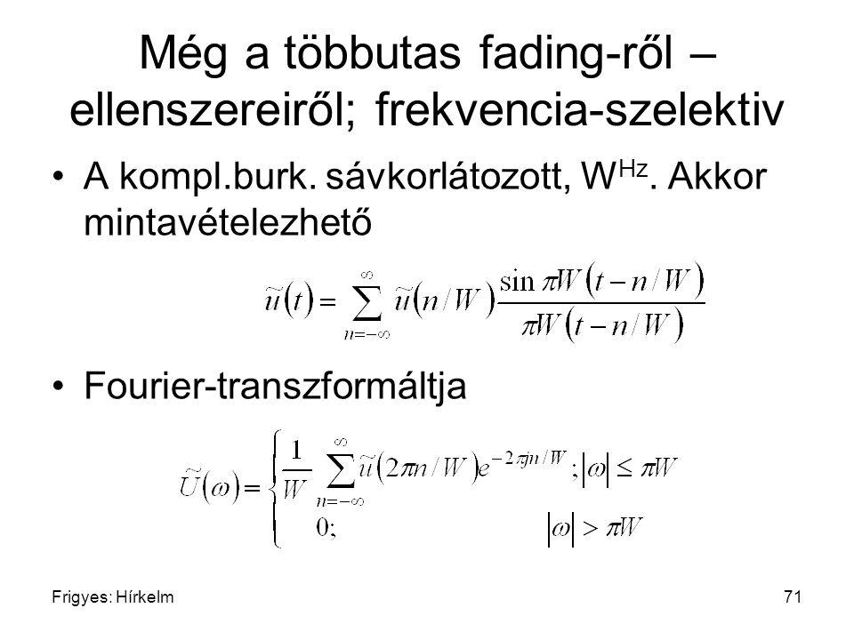Frigyes: Hírkelm71 Még a többutas fading-ről – ellenszereiről; frekvencia-szelektiv A kompl.burk. sávkorlátozott, W Hz. Akkor mintavételezhető Fourier