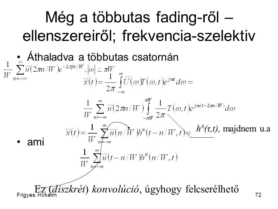 Frigyes: Hírkelm72 Még a többutas fading-ről – ellenszereiről; frekvencia-szelektiv Áthaladva a többutas csatornán ami Ez (diszkrét) konvolúció, úgyho