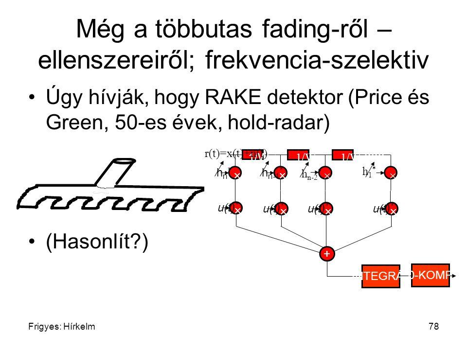 Frigyes: Hírkelm78 Még a többutas fading-ről – ellenszereiről; frekvencia-szelektiv Úgy hívják, hogy RAKE detektor (Price és Green, 50-es évek, hold-r
