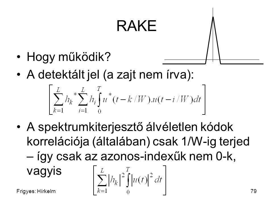Frigyes: Hírkelm79 RAKE Hogy működik? A detektált jel (a zajt nem írva): A spektrumkiterjesztő álvéletlen kódok korrelációja (általában) csak 1/W-ig t