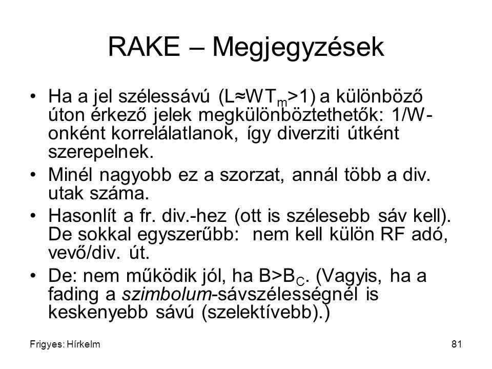 Frigyes: Hírkelm81 RAKE – Megjegyzések Ha a jel szélessávú (L≈WT m >1) a különböző úton érkező jelek megkülönböztethetők: 1/W- onként korrelálatlanok,