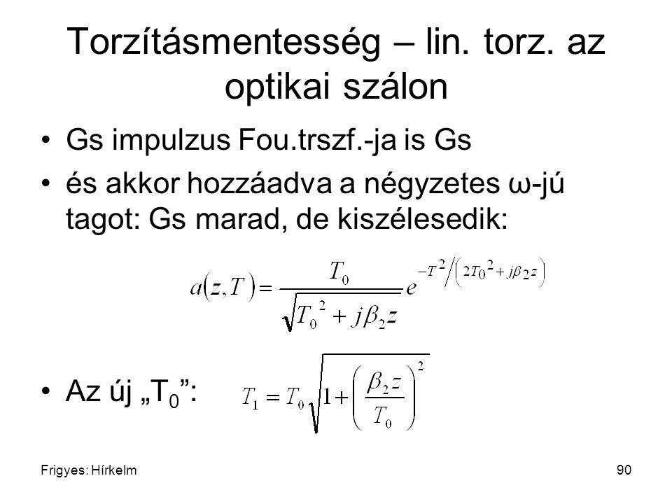 Frigyes: Hírkelm90 Torzításmentesség – lin. torz. az optikai szálon Gs impulzus Fou.trszf.-ja is Gs és akkor hozzáadva a négyzetes ω-jú tagot: Gs mara