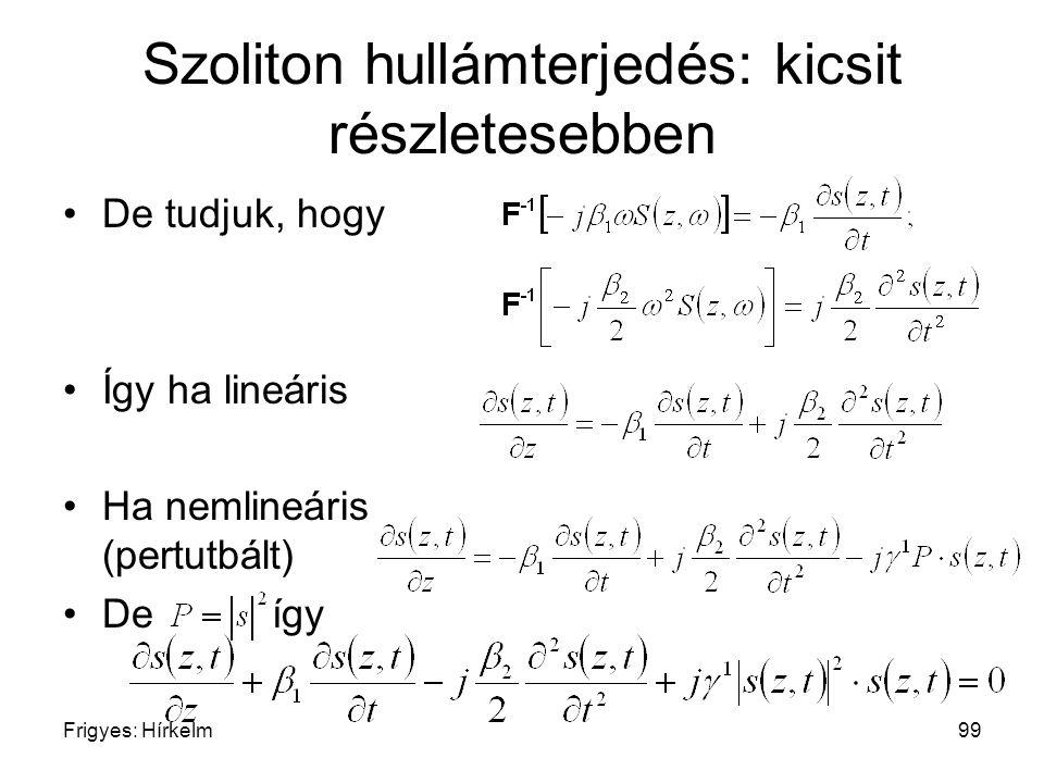 Frigyes: Hírkelm99 Szoliton hullámterjedés: kicsit részletesebben De tudjuk, hogy Így ha lineáris Ha nemlineáris (pertutbált) Deígy