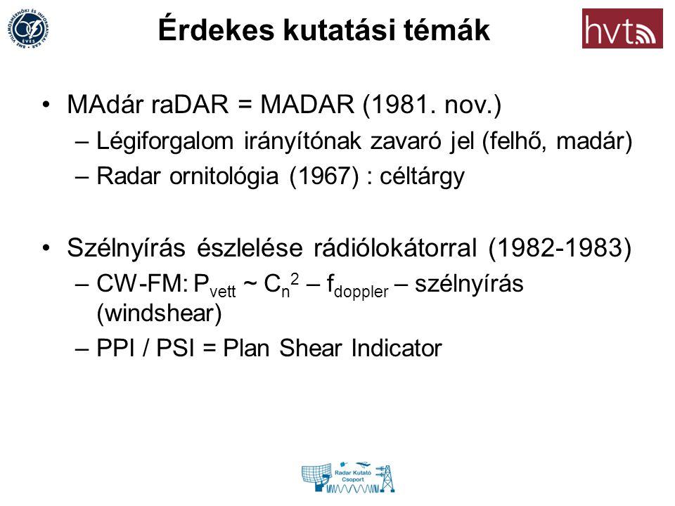 Érdekes kutatási témák MAdár raDAR = MADAR (1981. nov.) –Légiforgalom irányítónak zavaró jel (felhő, madár) –Radar ornitológia (1967) : céltárgy Széln