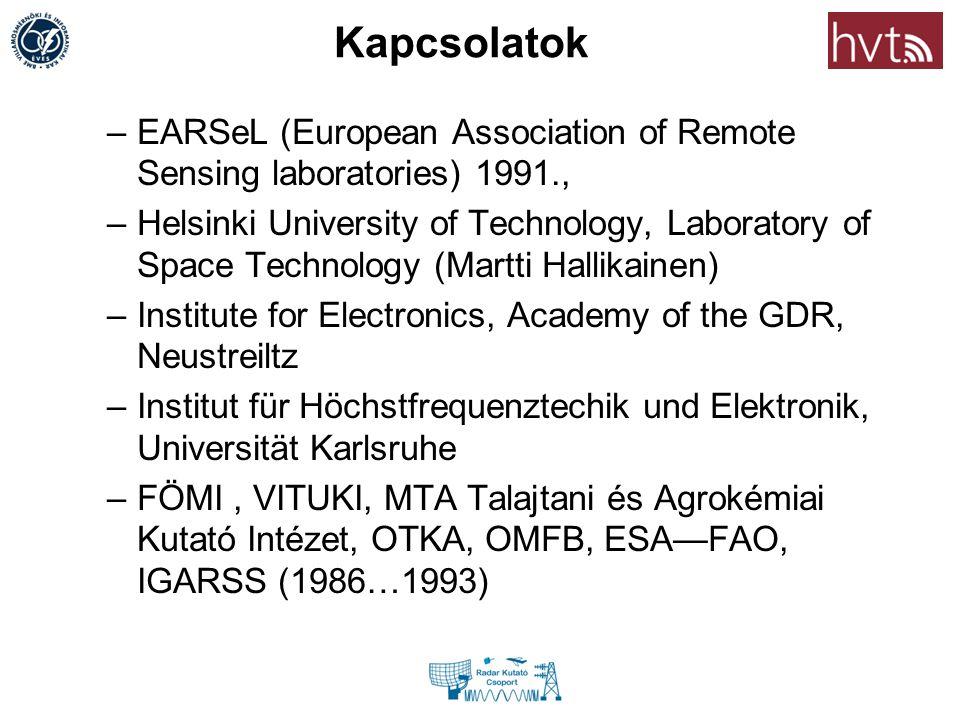 Kapcsolatok –EARSeL (European Association of Remote Sensing laboratories) 1991., –Helsinki University of Technology, Laboratory of Space Technology (M