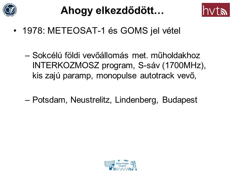 Ahogy elkezdődött… 1978: METEOSAT-1 és GOMS jel vétel –Sokcélú földi vevőállomás met. műholdakhoz INTERKOZMOSZ program, S-sáv (1700MHz), kis zajú para