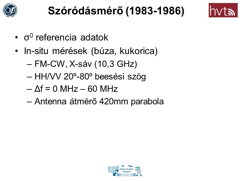 Szóródásmérő (1983-1986) σ 0 referencia adatok In-situ mérések (búza, kukorica) –FM-CW, X-sáv (10,3 GHz) –HH/VV 20º-80º beesési szög –Δf = 0 MHz – 60