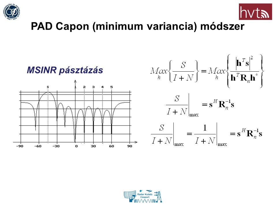 PAD Capon (minimum variancia) módszer MSINR pásztázás