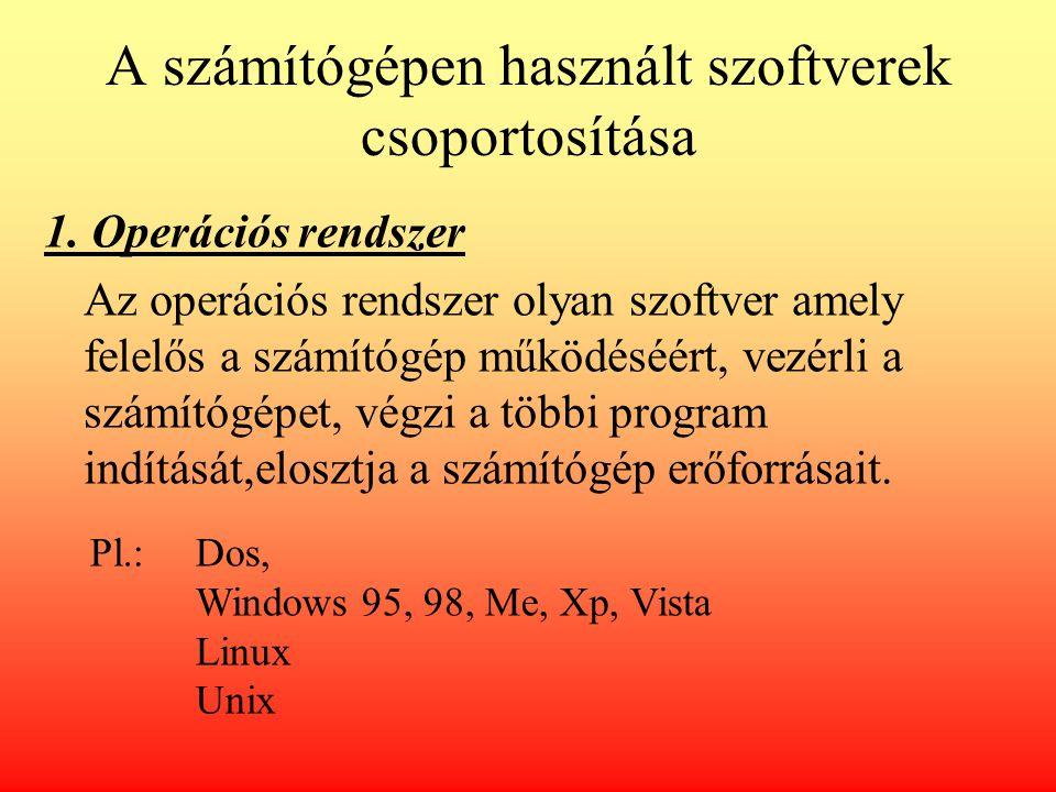 A számítógépen használt szoftverek csoportosítása 1. Operációs rendszer Az operációs rendszer olyan szoftver amely felelős a számítógép működéséért, v