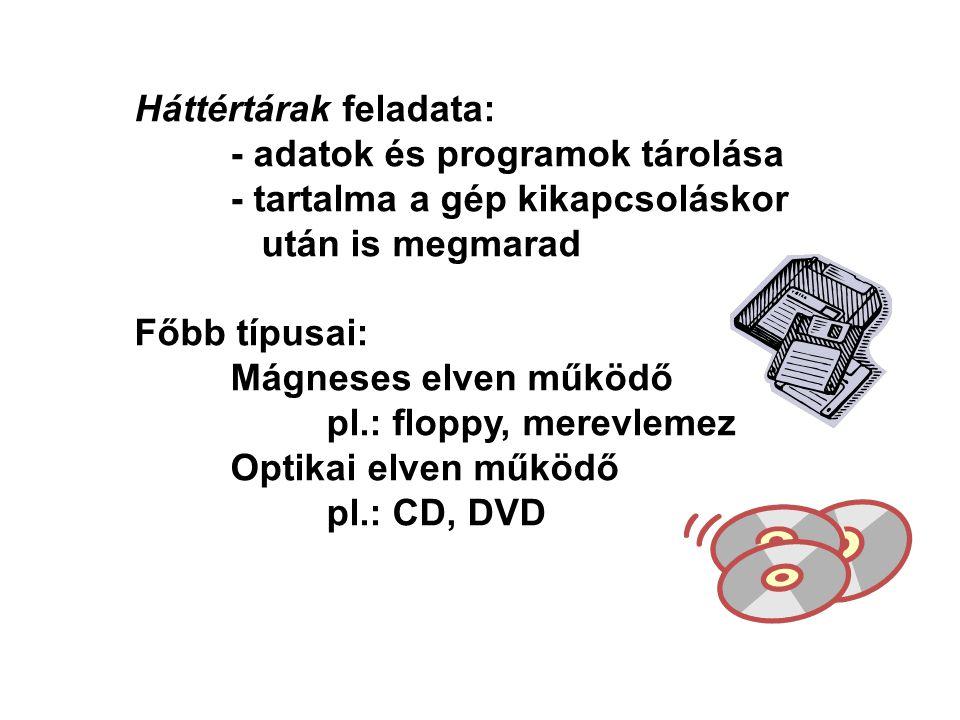 Háttértárak feladata: - adatok és programok tárolása - tartalma a gép kikapcsoláskor után is megmarad Főbb típusai: Mágneses elven működő pl.: floppy, merevlemez Optikai elven működő pl.: CD, DVD