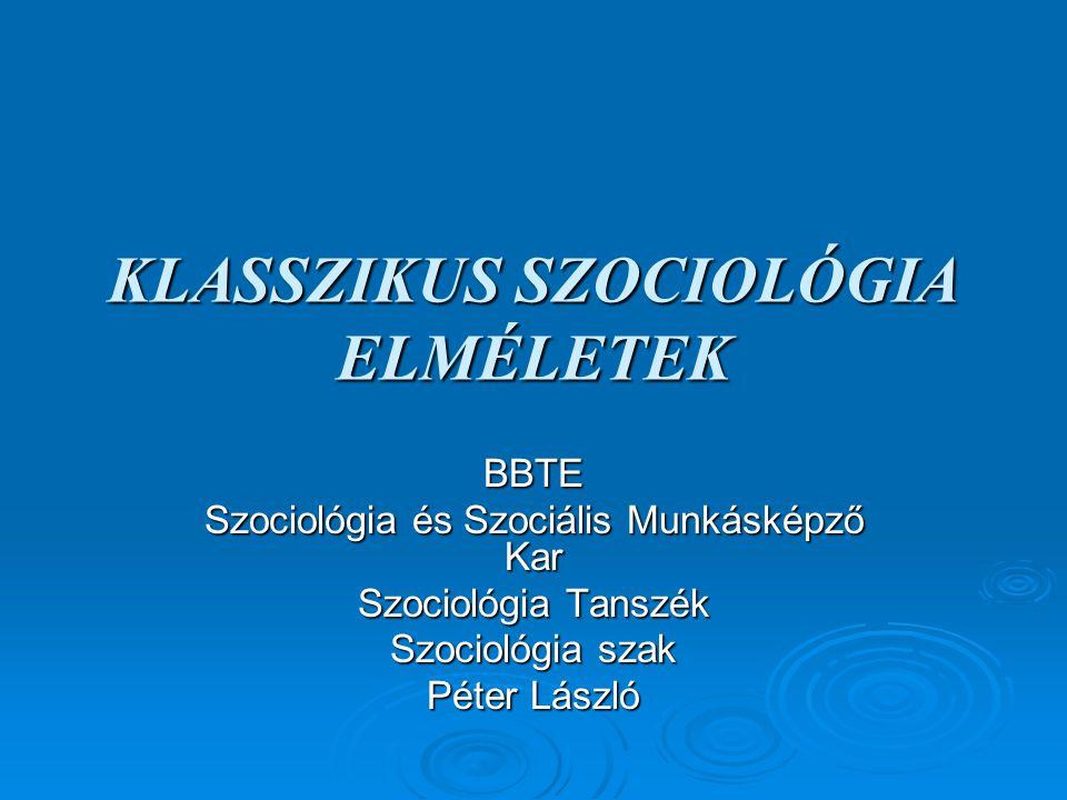 AUGUSTE COMTE Auguste Comte szociológiája Bevezető: Társadalmi kontextus Társadalmi statika és társadalmi dinamika Társadalmi evolúció, és a stádiumok elmélete A tudományok rendszere és a szociológia módszertana  Péter László