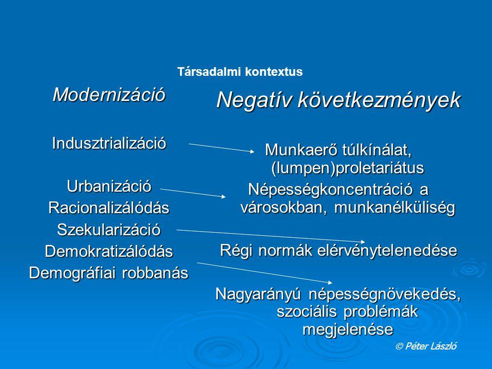 ModernizációIndusztrializációUrbanizációRacionalizálódásSzekularizációDemokratizálódás Demográfiai robbanás Negatív következmények Munkaerő túlkínálat, (lumpen)proletariátus Népességkoncentráció a városokban, munkanélküliség Régi normák elérvénytelenedése Nagyarányú népességnövekedés, szociális problémák megjelenése  Péter László Társadalmi kontextus