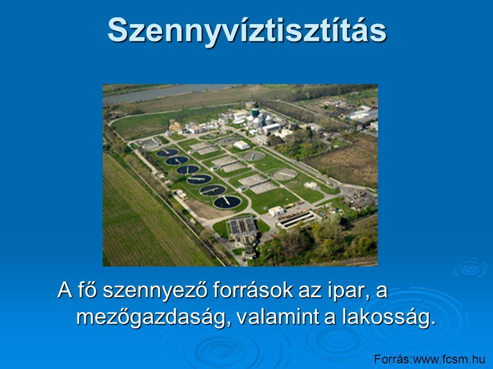 Szennyvíztisztítás A fő szennyező források az ipar, a mezőgazdaság, valamint a lakosság. Forrás:www.fcsm.hu