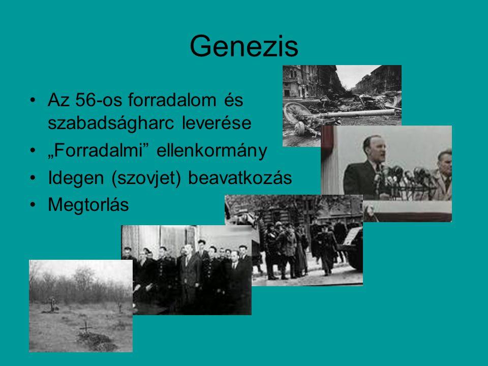 """Genezis Az 56-os forradalom és szabadságharc leverése """"Forradalmi ellenkormány Idegen (szovjet) beavatkozás Megtorlás"""