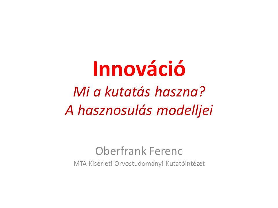 Innováció Mi a kutatás haszna? A hasznosulás modelljei Oberfrank Ferenc MTA Kísérleti Orvostudományi Kutatóintézet