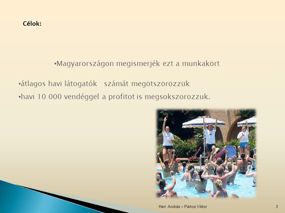 Herr András – Pártos Viktor3 Célok: átlagos havi látogatók számát megötszörözzük havi 10 000 vendéggel a profitot is megsokszorozzuk. Magyarországon m