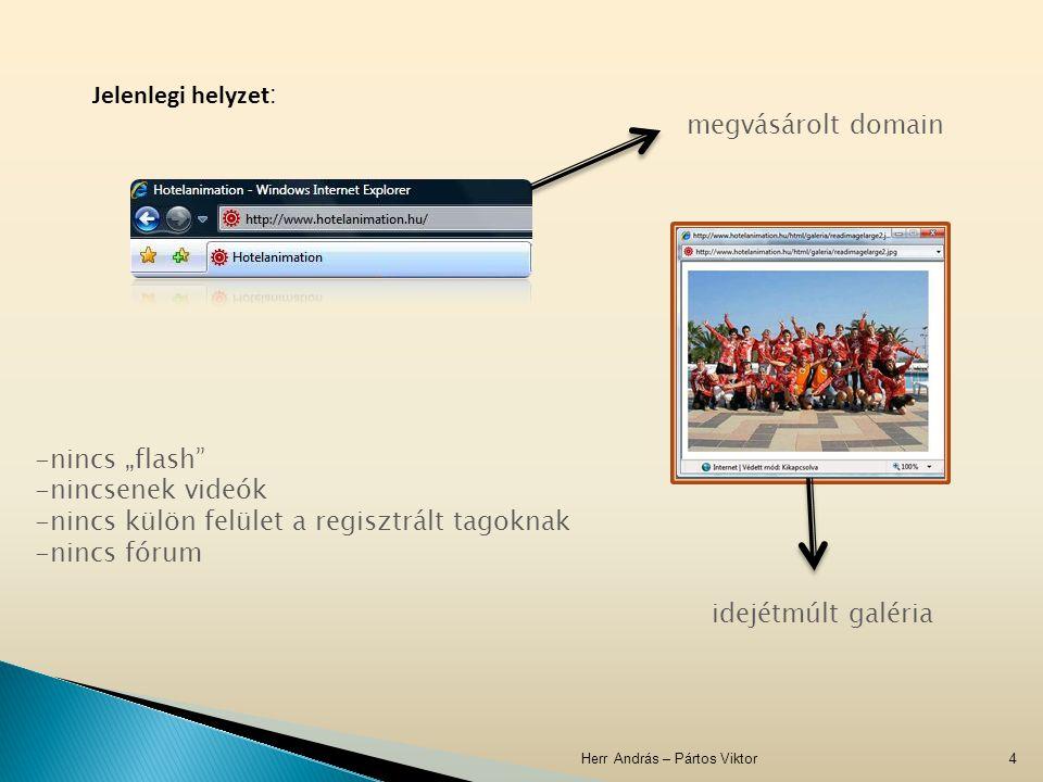 """Herr András – Pártos Viktor4 Jelenlegi helyzet : megvásárolt domain idejétmúlt galéria -nincs """"flash"""" -nincsenek videók -nincs külön felület a regiszt"""