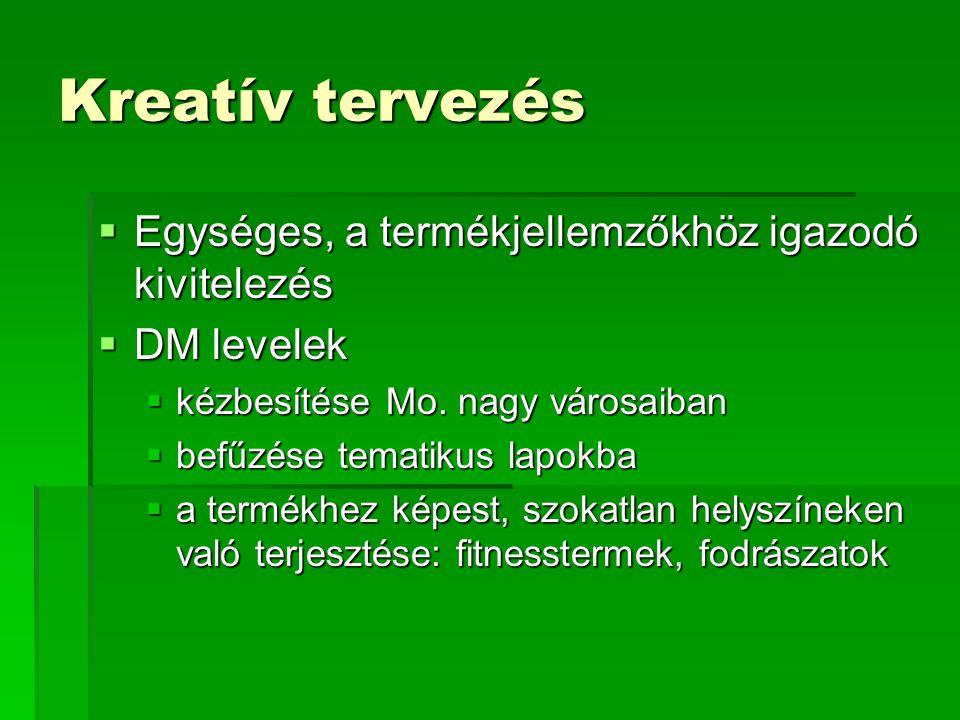 Kreatív tervezés  Egységes, a termékjellemzőkhöz igazodó kivitelezés  DM levelek  kézbesítése Mo. nagy városaiban  befűzése tematikus lapokba  a