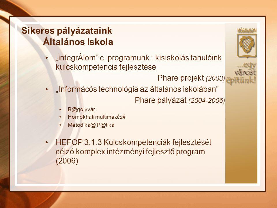 """Sikeres pályázataink Általános Iskola """"integrÁlom"""" c. programunk : kisiskolás tanulóink kulcskompetencia fejlesztése Phare projekt (2003) """"Informácós"""