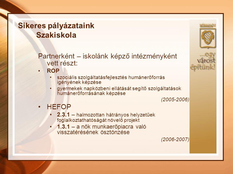 Sikeres pályázataink Szakiskola Partnerként – iskolánk képző intézményként vett részt: ROP szociális szolgáltatásfejlesztés humánerőforrás igényének k