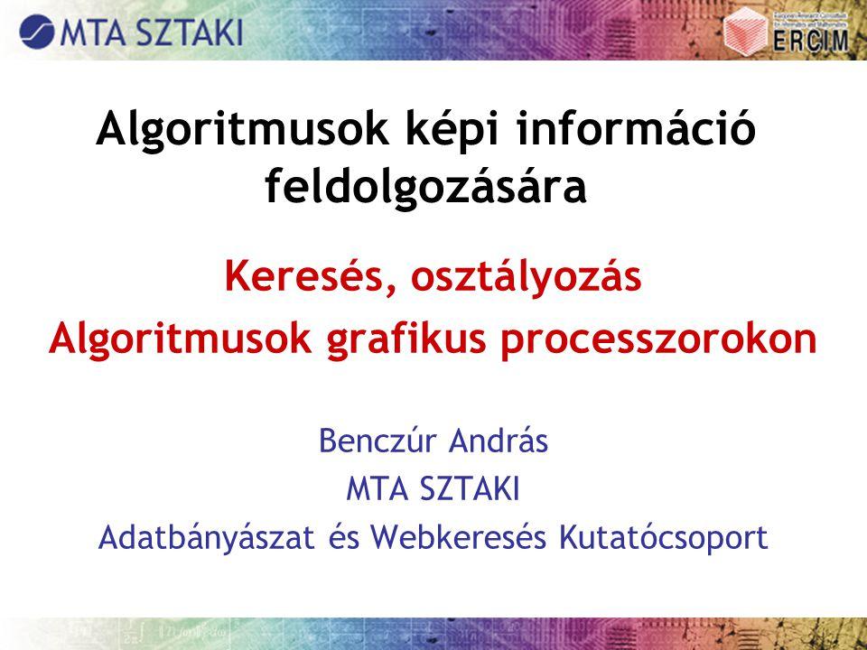 Algoritmusok képi információ feldolgozására Keresés, osztályozás Algoritmusok grafikus processzorokon Benczúr András MTA SZTAKI Adatbányászat és Webke