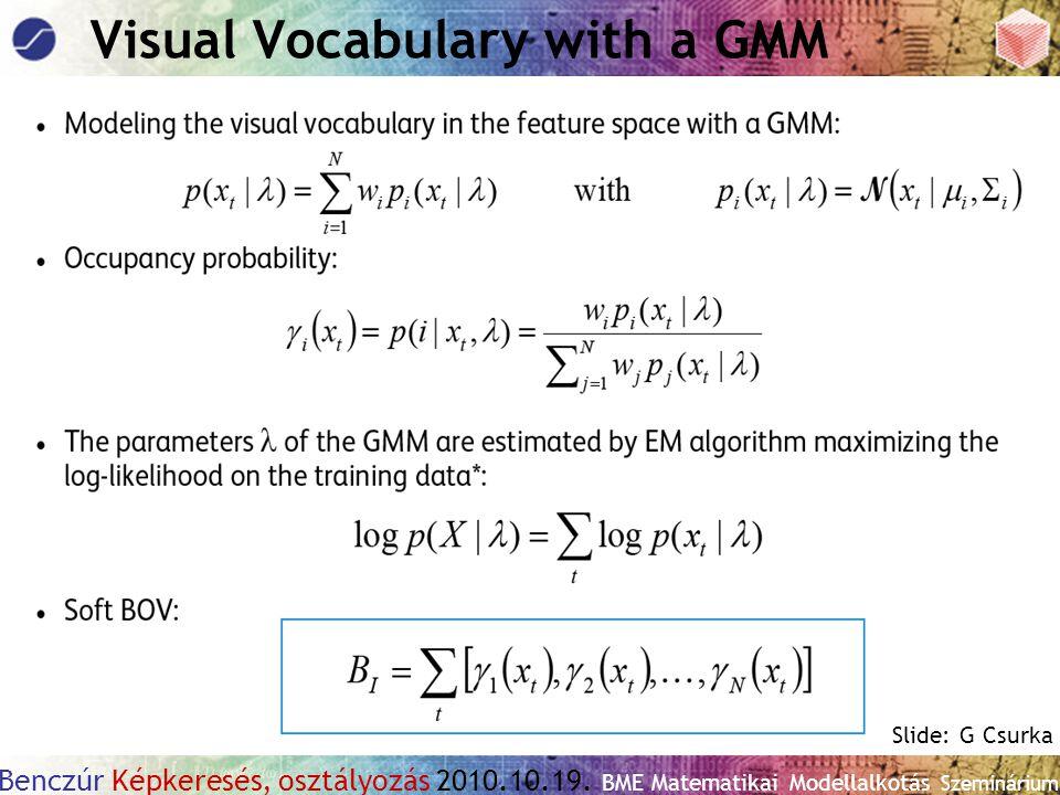 Benczúr Képkeresés, osztályozás 2010.10.19. BME Matematikai Modellalkotás Szeminárium Visual Vocabulary with a GMM Slide: G Csurka