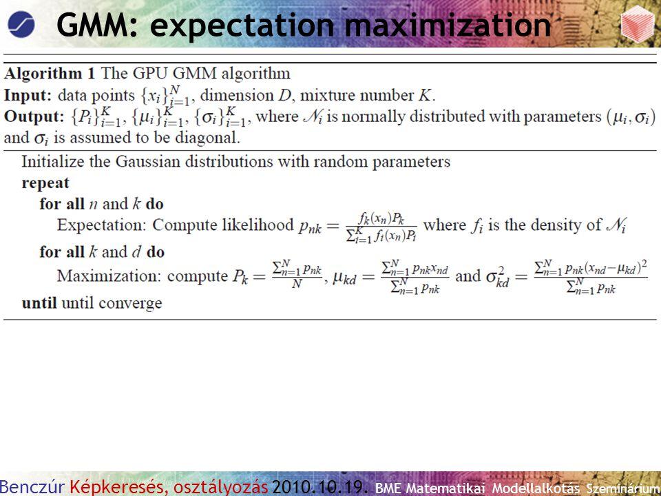 Benczúr Képkeresés, osztályozás 2010.10.19. BME Matematikai Modellalkotás Szeminárium GMM: expectation maximization