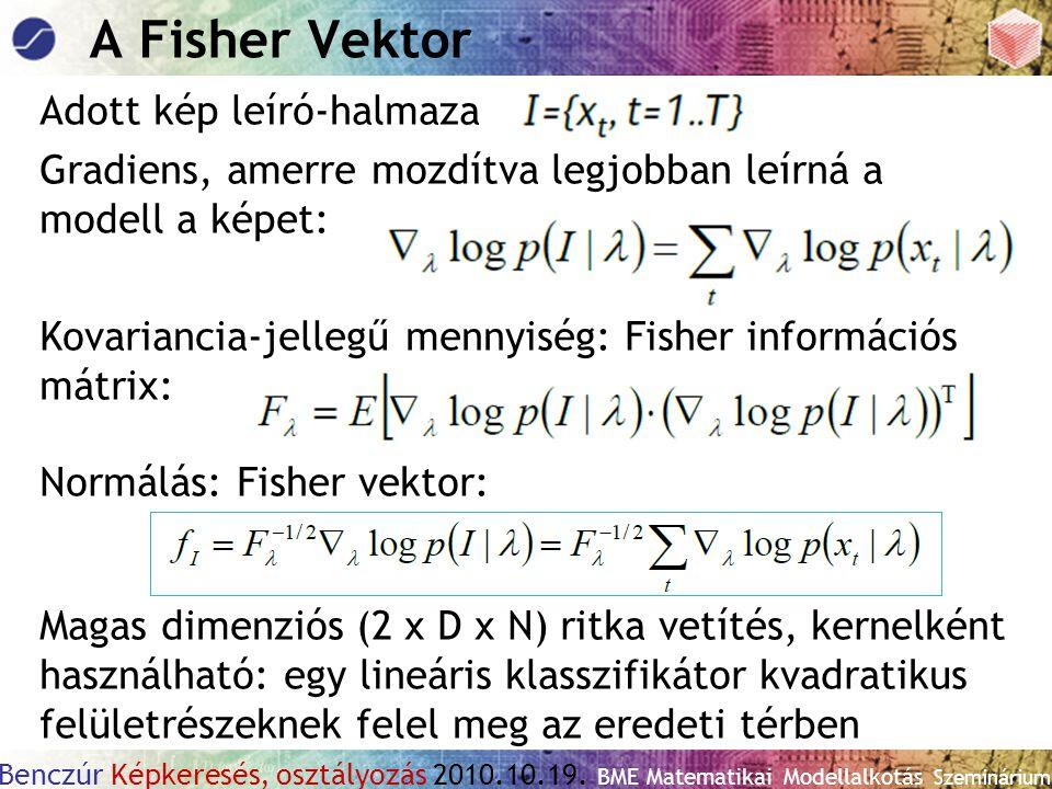 Benczúr Képkeresés, osztályozás 2010.10.19. BME Matematikai Modellalkotás Szeminárium A Fisher Vektor Adott kép leíró-halmaza Gradiens, amerre mozdítv
