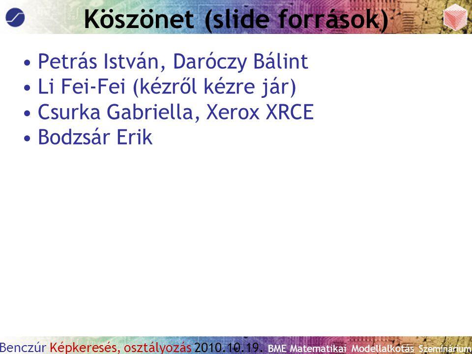 Benczúr Képkeresés, osztályozás 2010.10.19. BME Matematikai Modellalkotás Szeminárium Köszönet (slide források) Petrás István, Daróczy Bálint Li Fei-F